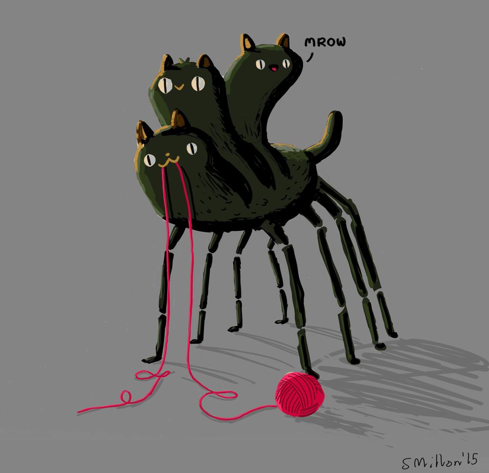 Three Headed Spider Cat Sebastien Millon Art